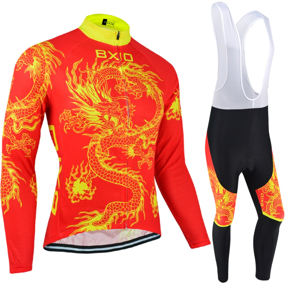 BXIO Winter Thermal Fleece Cycling Jerseys China Dragon Design Racing Riding Long Sleeve Bicycle Uniforms Conjunto Ciclismo 023 rock racing cycling clothing couple jerseys short sleeve high quality paladinsports christmas design