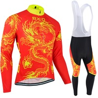 BXIO Winter Thermal Fleece Cycling Jerseys China Dragon Design Racing Riding Long Sleeve Bicycle Uniforms Conjunto