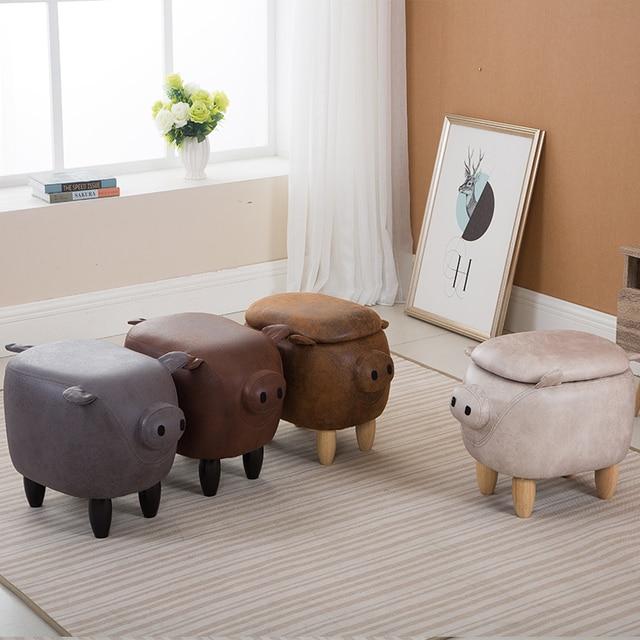 Etonnant Creative Solid Wood Footstool Lovely Pig Shoes Stool Sofa Storage Stools
