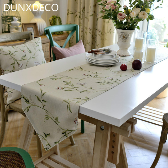 DUNXDECO Table Runner Blend Table Cover Fabric French Country Style Garden  Rose Print Home Party Decoration