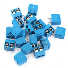 20/100pcs 2P Plug-in Screw Terminal Block Connector 5.08mm Pitch Blue