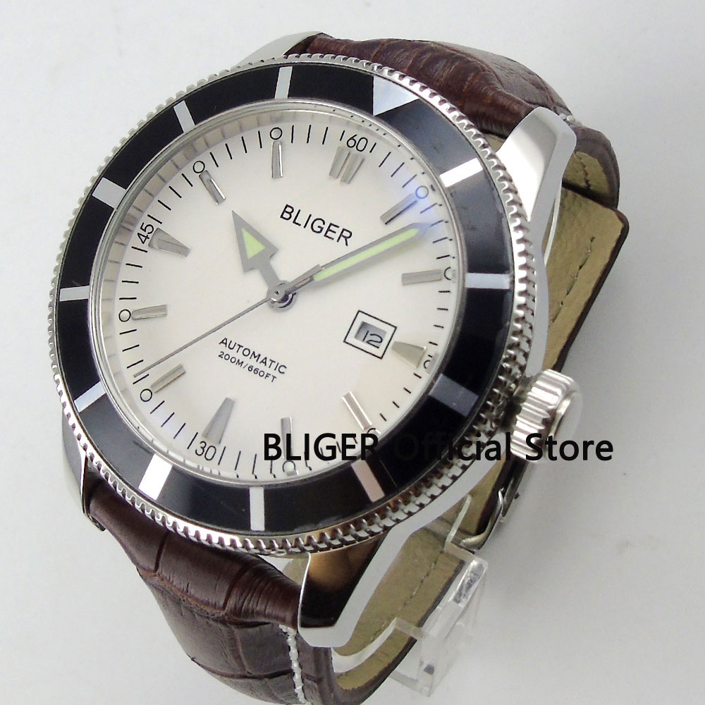 BLIGER 46mm White Dial Black Rotating Bezel Stainless Steel Case Luminous Pointer Japan Miyota Automatic Movement Men's Watch relojes full stainless steel men s sprot watch black and white face vx42 movement