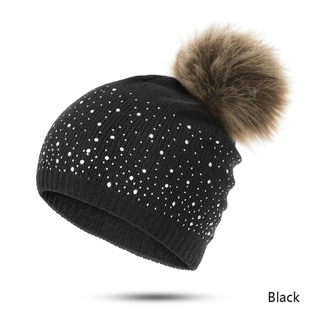 URDIAMOND Winter Hat Women Cute Hot Selling Casual Solid Drilling ball Cap Warm Faux Fur Pom Pom Ball Girl 's Hat