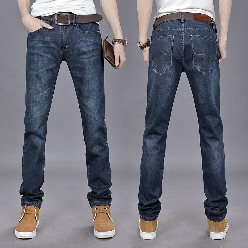 2466ae58ba 2015 new Korean slim straight men s jeans and casual pants long deep blue  blast wave model 105-in Jeans from Men s Clothing on Aliexpress.com