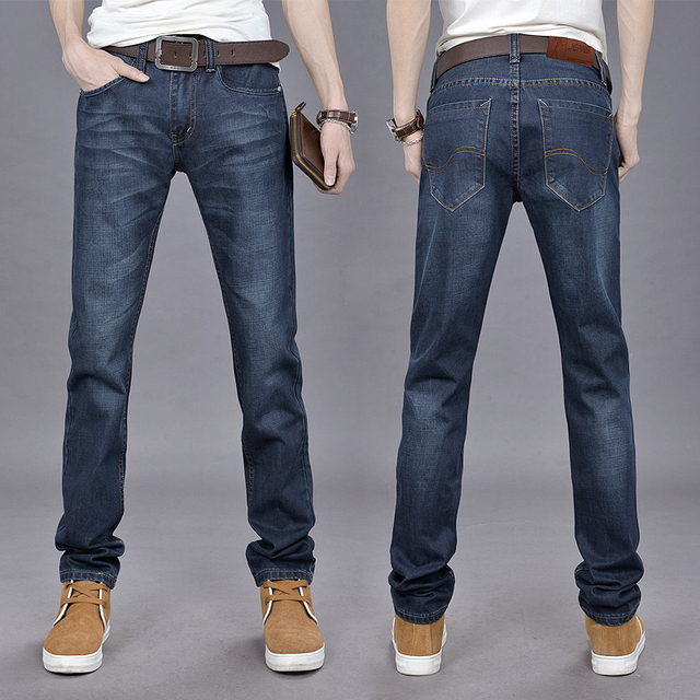 b050ffc2caa 2015 new Korean slim straight men s jeans and casual pants long deep blue  blast wave model 105