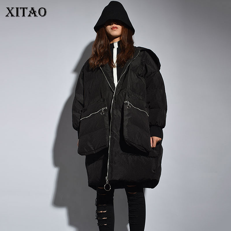 [XITAO] Women Winter Spring Fashion New Hooded Collar Full Sleeve Coat Female Pocket Solid Color Casual Thick Long   Parka   LYH1446