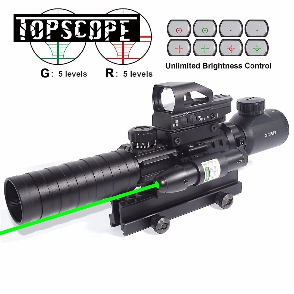AR15 Rifle Scope 3-9x32EG Rangefinder Illuminated Reflex Sight 4 Reticle Red&Green Quick Release Red Dot Laser Sight 14 Slot very100 new tactical reflex 3 10x 40 red green dot reticle sight rifle scope