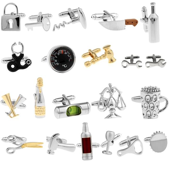 Δωρεάν επίστρωση χρυσού ναυτιλία Novelty μανικετόκουμπα σαμπάνια και κρασί σχεδιασμό γυαλιών άνδρες μανικετόκουμπα χονδρικής και λιανικής
