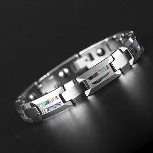 Image 4 - Good For Health Magnetic Bracelet Men Luxury Natural Shell Never Scratch Black Tungsten Steel Bracelets For Women Cross Jewelry