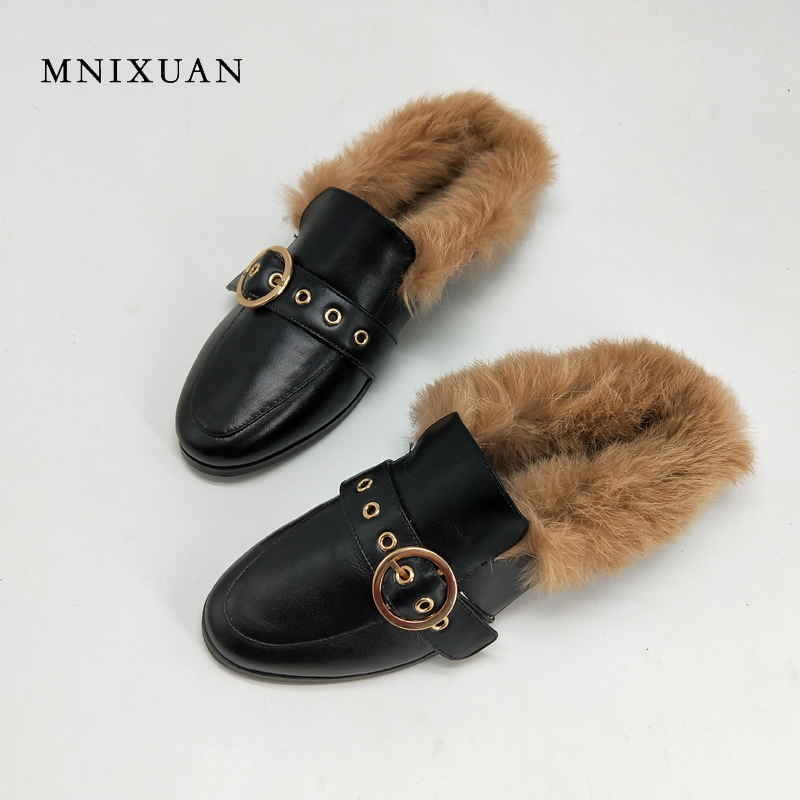 MNIXUAN Mules shoes women 2017 autumn winter new handmade genuine leather round toe warm plush rabbit fur casual  flats big size mnixuan mules shoes women 2017 new genuine leather slip on ladies warm fur winter flats rabbit embroidered butterfly casual flat