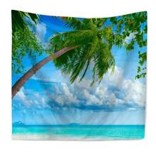 Large Size Wall Hanging Tapestry Picnic Mats Curtain Bed Sheets 7 Models Beach Sea Coconut Tree Scenery Wall Background Decor(China)