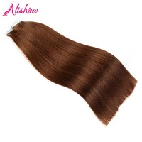 Alishow Tape In Remy Human Hair Double Drawn Hair Remy Straight Hair Bundles Weaves PU Tape