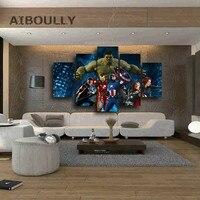 5 pz Marvel The Avengers Movie Picture Pittura su Tela di Arte Della Parete Stranger Cose Poster per Soggiorno Stampa su tela