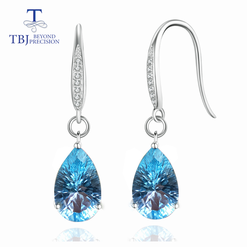 TBJ Water Drop 13ct Genuine Sky blue topaz concave cut Dangle hook Earrings Pure 925 Sterling