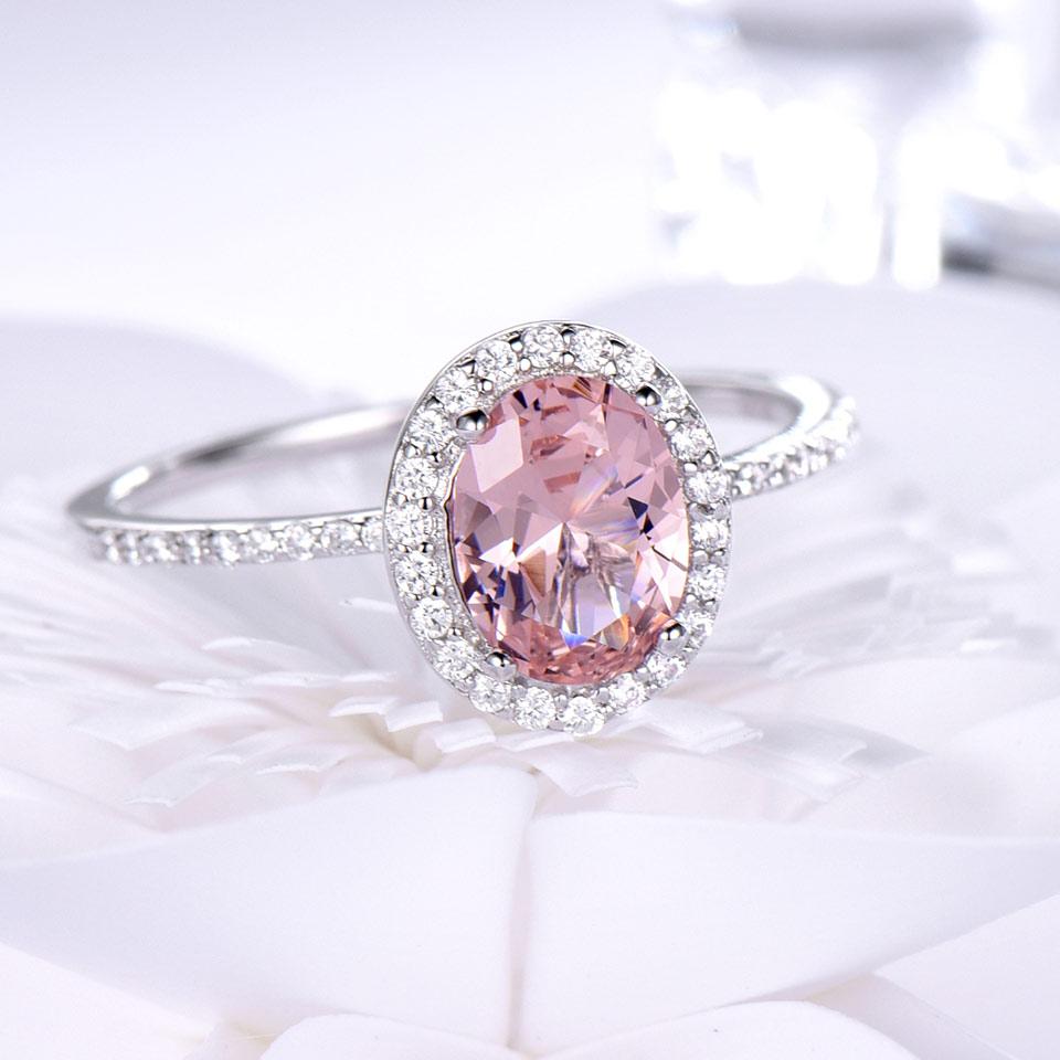 UMCHO Luksuzni Ovalni ružičasti Sapphire prstenovi pravi 925 - Fine nakit - Foto 3