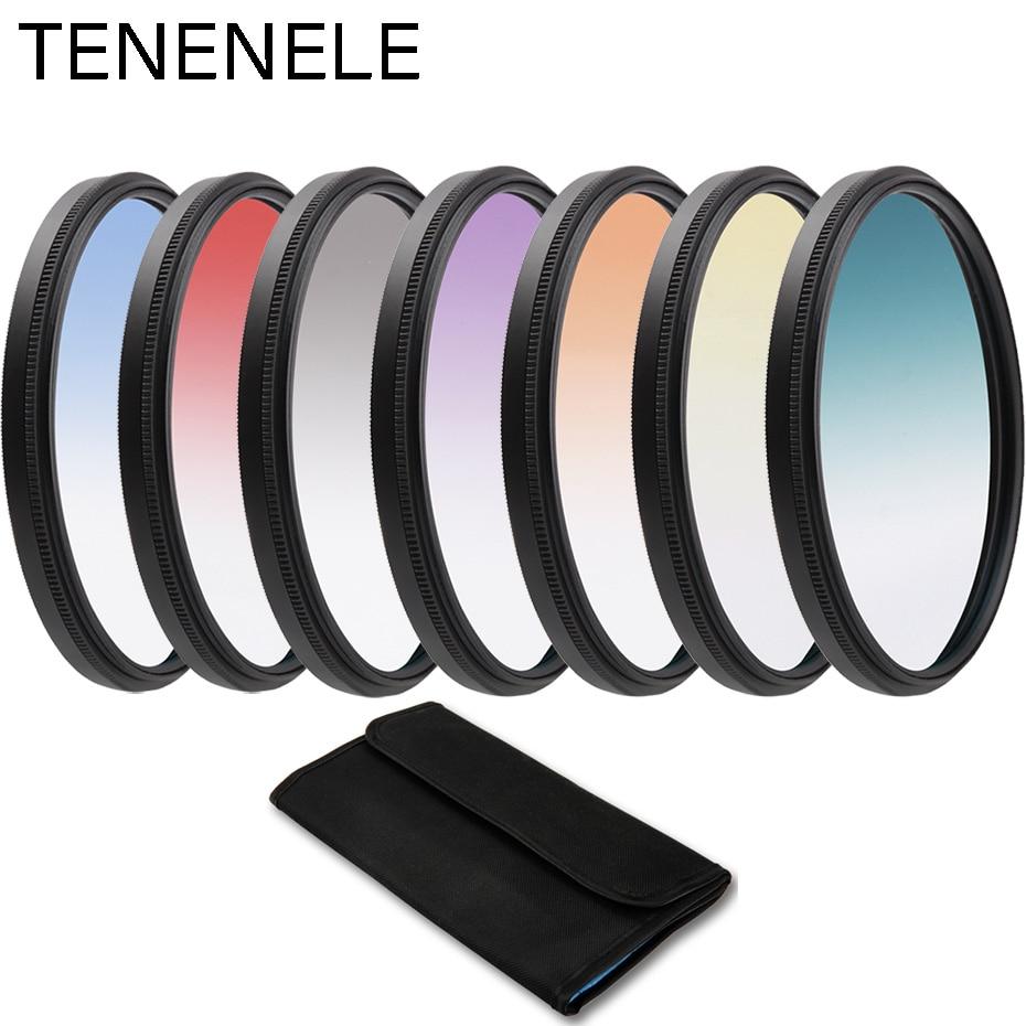 Juego de filtros de cámara de Color gradiente TENENELE 49 52 55 58 62 67 72 77 82 mm para cámara Nikon Sony Canon Pentax DLSR