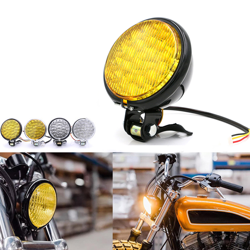 35W Motorcycle LED Headlight Universal Motorbike Retro Headlamp DC 12V Scooter Round Spotlight Motor Vintage Front Lights Lamps