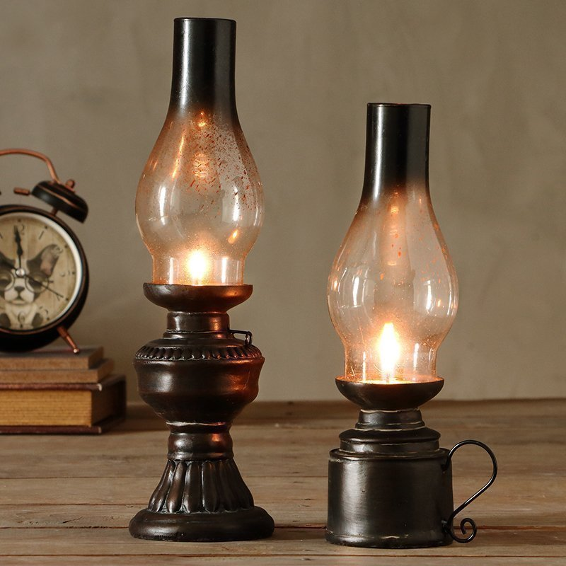 Retro Vintage  lamp Cafe old Kerosene bar window decoration Home resin creative small ornaments
