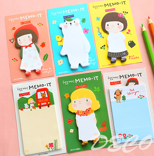 1PC/lot Kawaii girl series sticky notes Sticky marker note Memo pad Label / message post School supplies Wholesale (tt-1621-861)