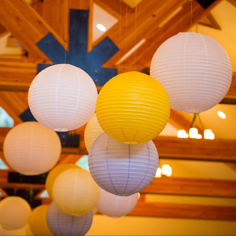 20pcs Lot 8 20cm Round Chinese Lantern Mutil Color White Paper Lanterns For Wedding Party Decoration Birthday Decor Mix