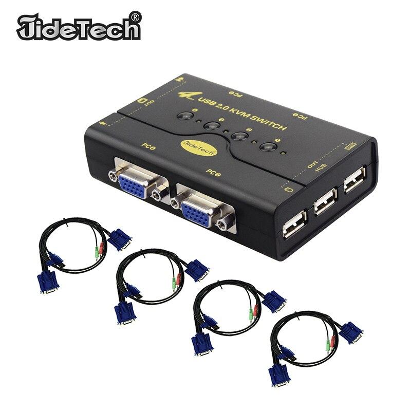 4 Порты и разъёмы VGA kvm-переключатель с USB устройств для Мышь клавиатура принтера USB 2,0 коммутатор адаптер Box kvm-переключатель коммутации функц...