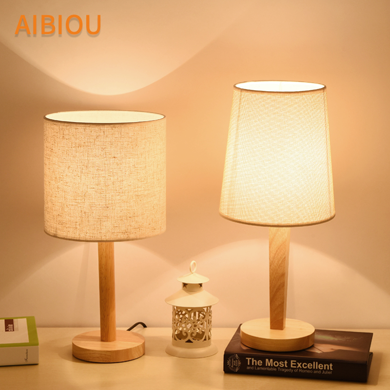AIBIOU Wooden LED Table Lamps With Cloth Lampshade Japanese Style Hotel Reading Light Bedside Lighting Wood Desk Lighting botimi wooden table lamp with fabric lampshade bedside desk lights lamparas de mesa book lamps deco luminaria reading lighting