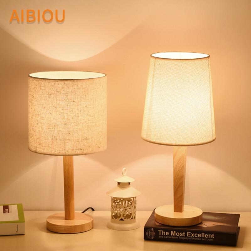 AIBIOU lampes de table LED en bois avec abat-jour en tissu Style japonais
