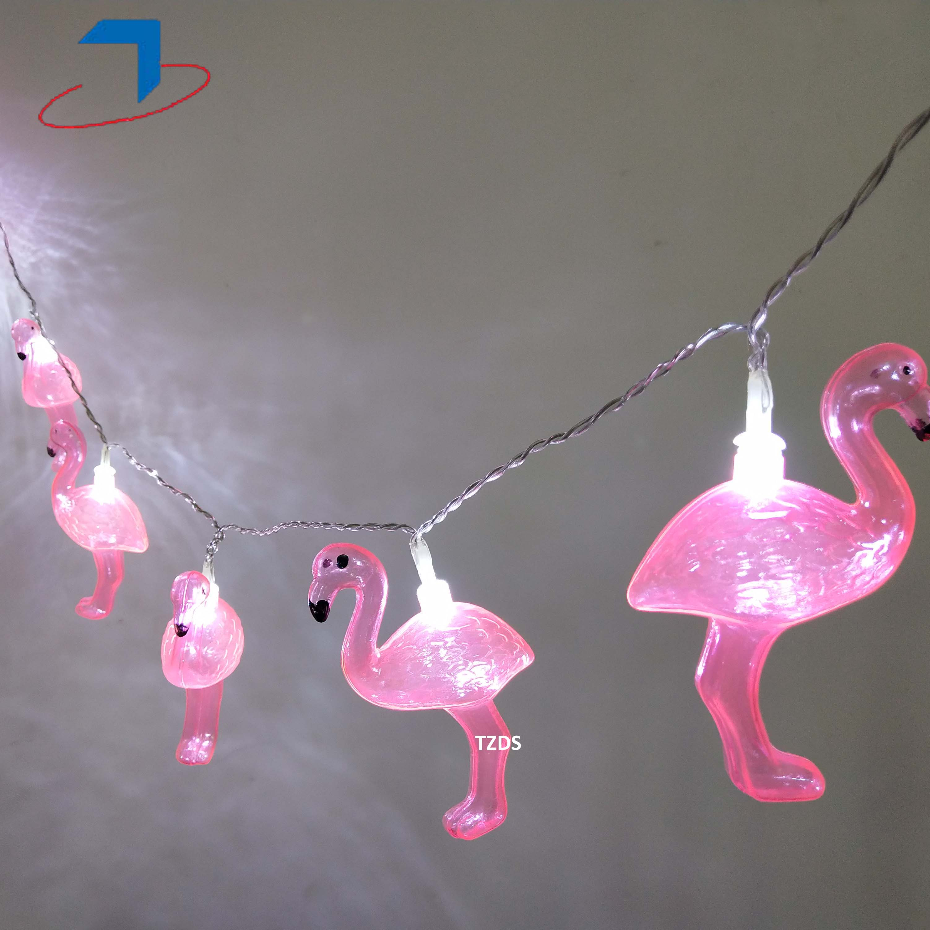 10 LEDS Plastic Fairy Flamingo Decoration Holiday String Lights Pink For Indoor Party Baby Shower Wedding Bedroom Living Room