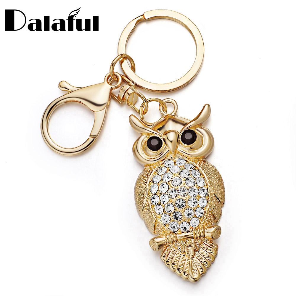 unique owl key chains rings holder rhinestone delicate