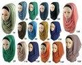 Real New Foulard Chiffon Scarf Islamic Muslim Hijab 2016 Women Hijab Oversized Maxi Neck Plain Shawls And Scarves Free Shipping