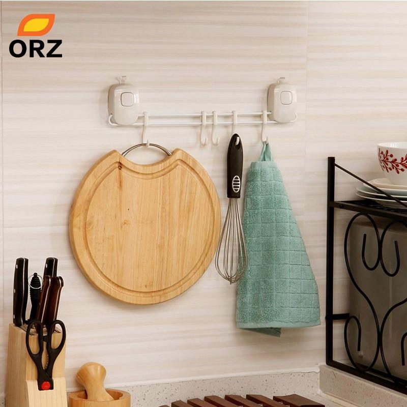 ORZ 5 Hooks Bathroom Kitchen Shelf Double Suction Cup Storage Rack Kitchen  Sundries Rack Toilet Wall Mount Storage Towel Holder In Storage Holders U0026  Racks ...