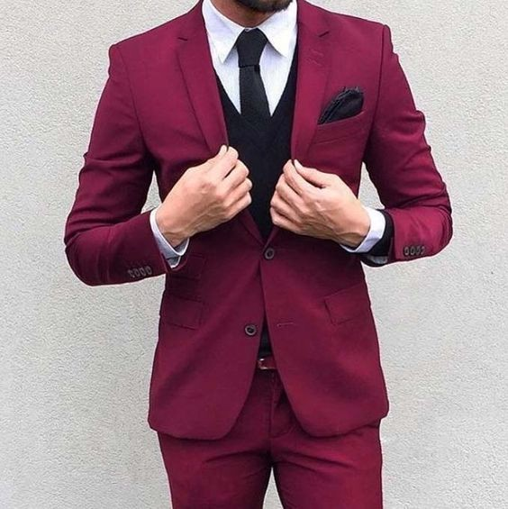 2d9a8bfc536d61 Wine Red Wedding Prom Party Suits For Men 2 Piece Slim Fit Groom Tuxedos  Pageant Homecoming Suit(Jacket+Pants+vest)-in Suits from Men's Clothing on  ...