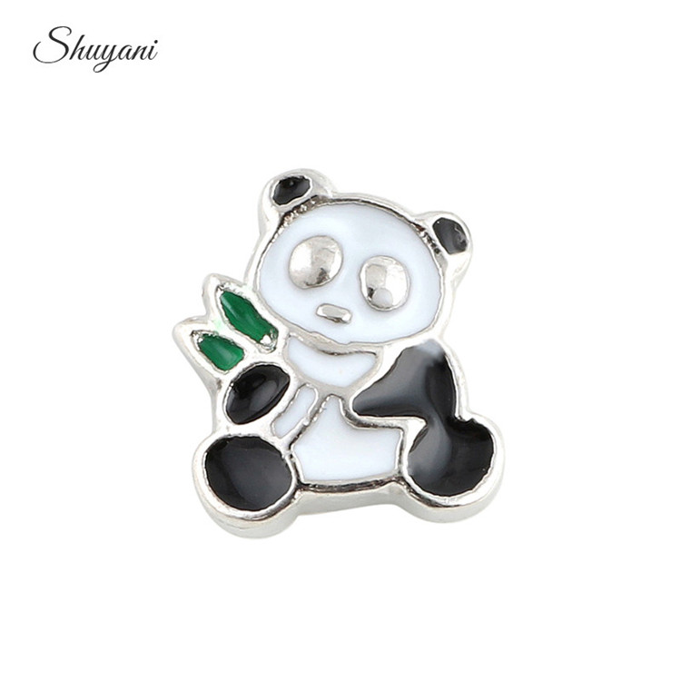 20pcs/lot New Arrival Lovely Animal Chinese Panda Charms for Floating Living Memory Locket Pendant