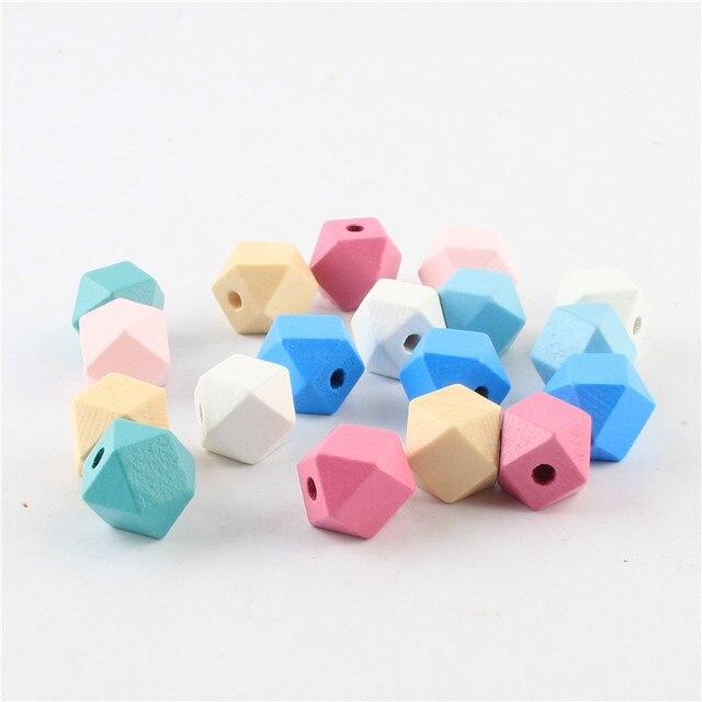 50pcs/lot 12mm Rainbow Wooden Beads Geometry Polygon Shape Wood Beads For Jewelr