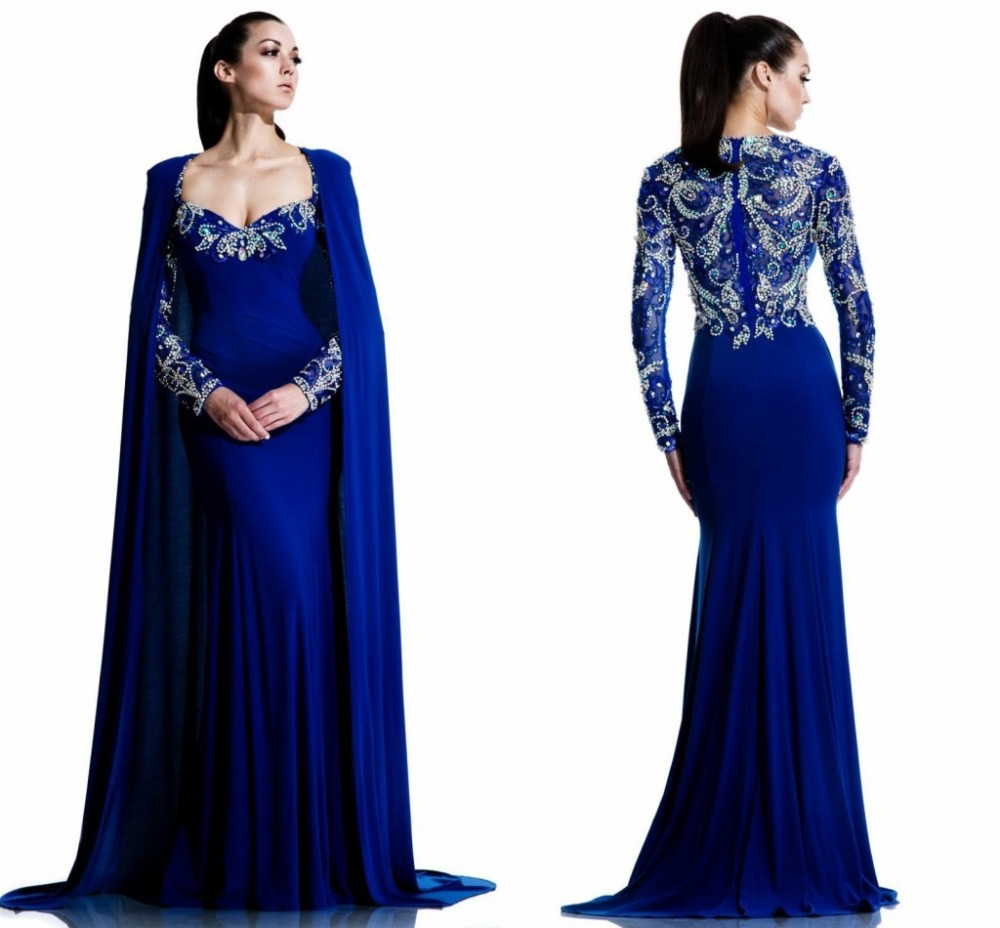 Online Shop 2016 New Sale Beaded Long Sleeve Royal Blue Evening ...