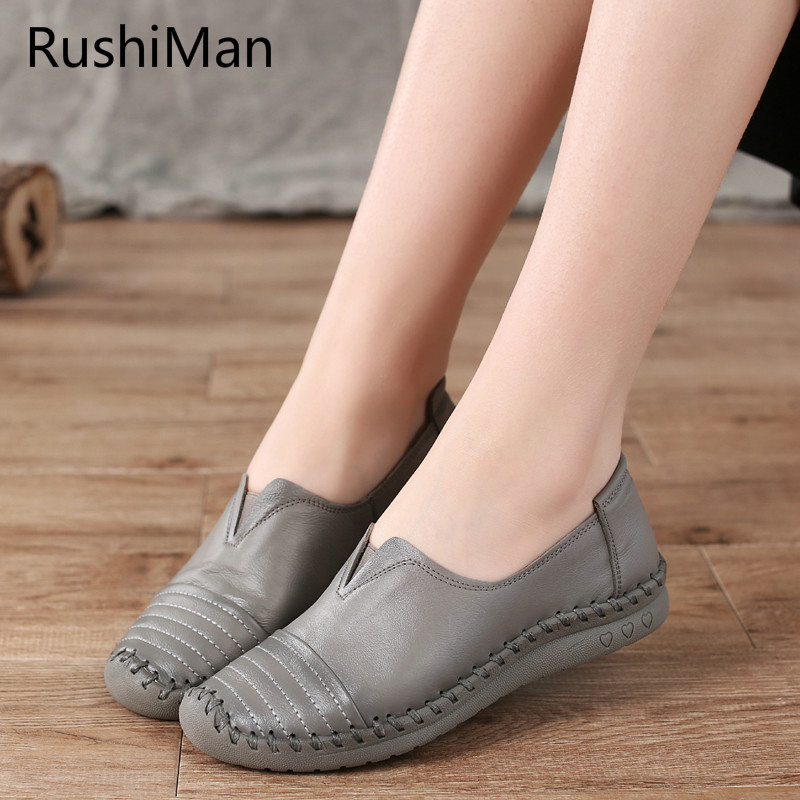 RushiMan Spring new hand sewing lazy shoes leisure elderly women s shoes leather soft bottom mother