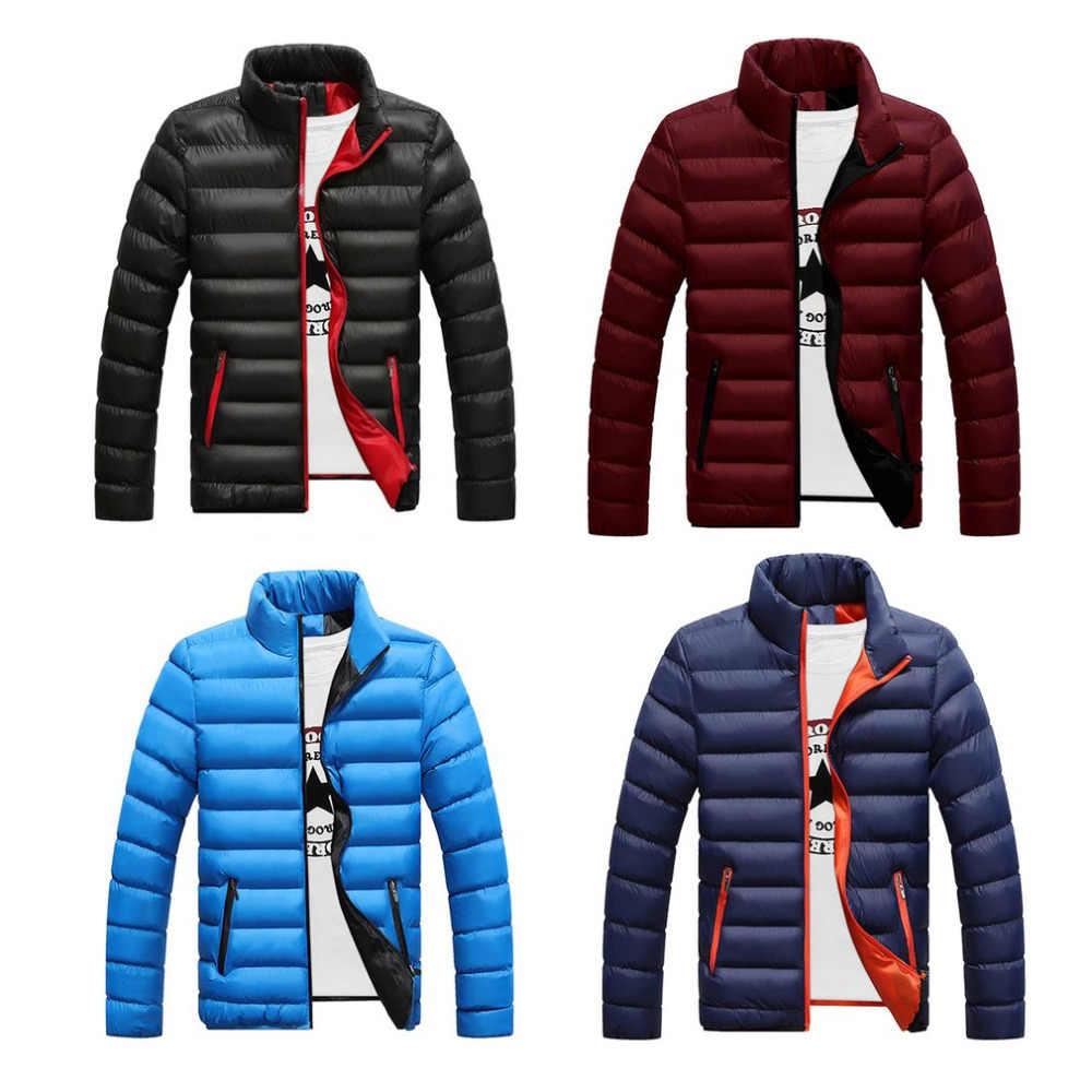 ฤดูหนาวผู้ชายแจ็คเก็ตผ้าฝ้ายหนาParkasบางตัดอุ่นเบาะเสื้อคลุมยืนปกชายลมB Reakerทนกว่าชายผ้าM-4L
