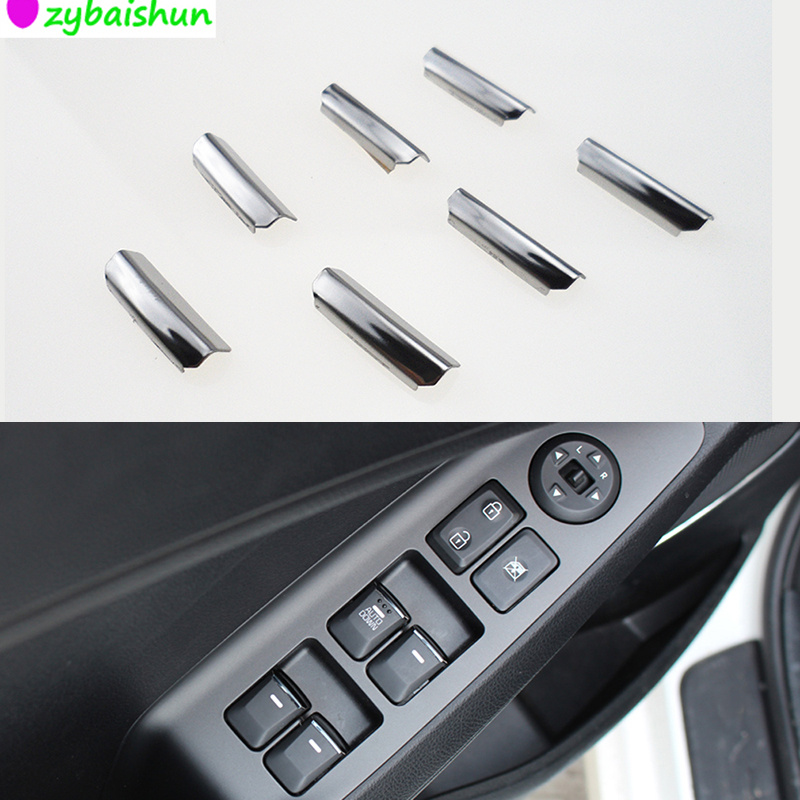Car Styling 7 Pieces / Tool Car Stainless Steel Handles For Window Lift Decocation Sequins KIA RIO K2 K3 K5 For Forte Sportage R