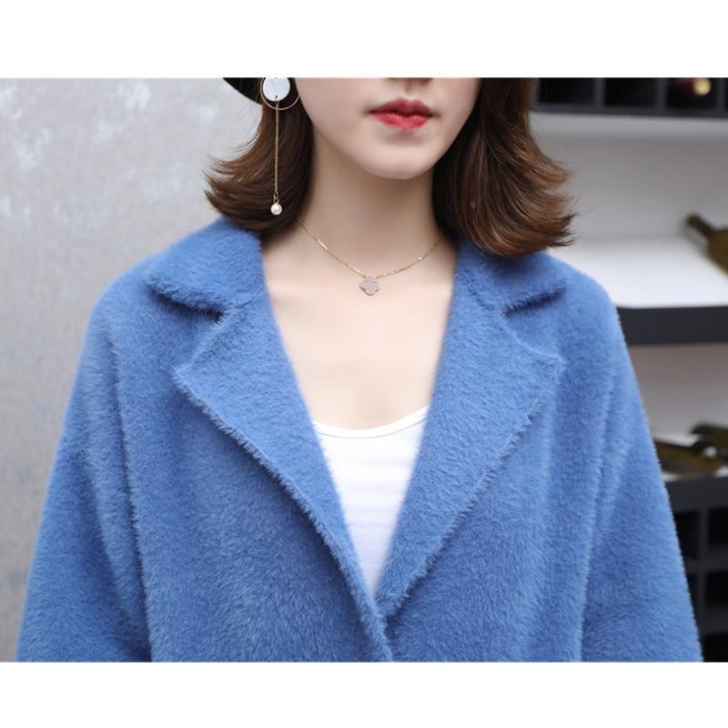 Chaud Gray Longue rat Winterthicken Manteaux Tricoté Haute De Cardigan Vison Vestes Femmes Coréen Qualité Fourrure Femelle white khaki Outwear Tempérament W253 Blue qFXxw4Ap16