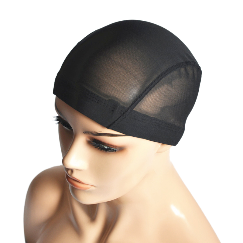 Black Mesh Dome Cap Breathable Glueless Stretchable Spandex Weave Cap For Making Wig Spandex Dome Caps