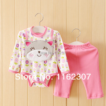 New 2015 High quality newborn baby rompers with saliva towel long sleeve baby clothing set 3pcs