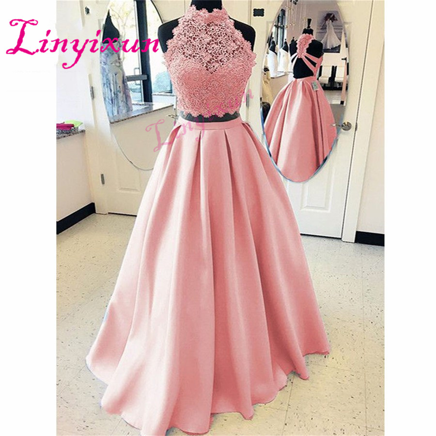 Elegant 2018 Blush Pink   Prom     Dresses   Long Two Pieces Gown A-Line Gown Vestido Longo Satin Formal Evening Party   Dress