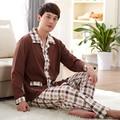 New Spring brand Long-sleeved men's pajama pants Cotton men lapel casual plaid pajamas home service suit loose large size 4XL