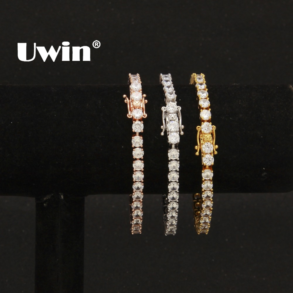 Uwin 1 Row Cubic Zircon Tennis Link Bracelet Rose Gold/Silver/Gold Iced Out Mens CZ Bracelet Fashion Jewelry