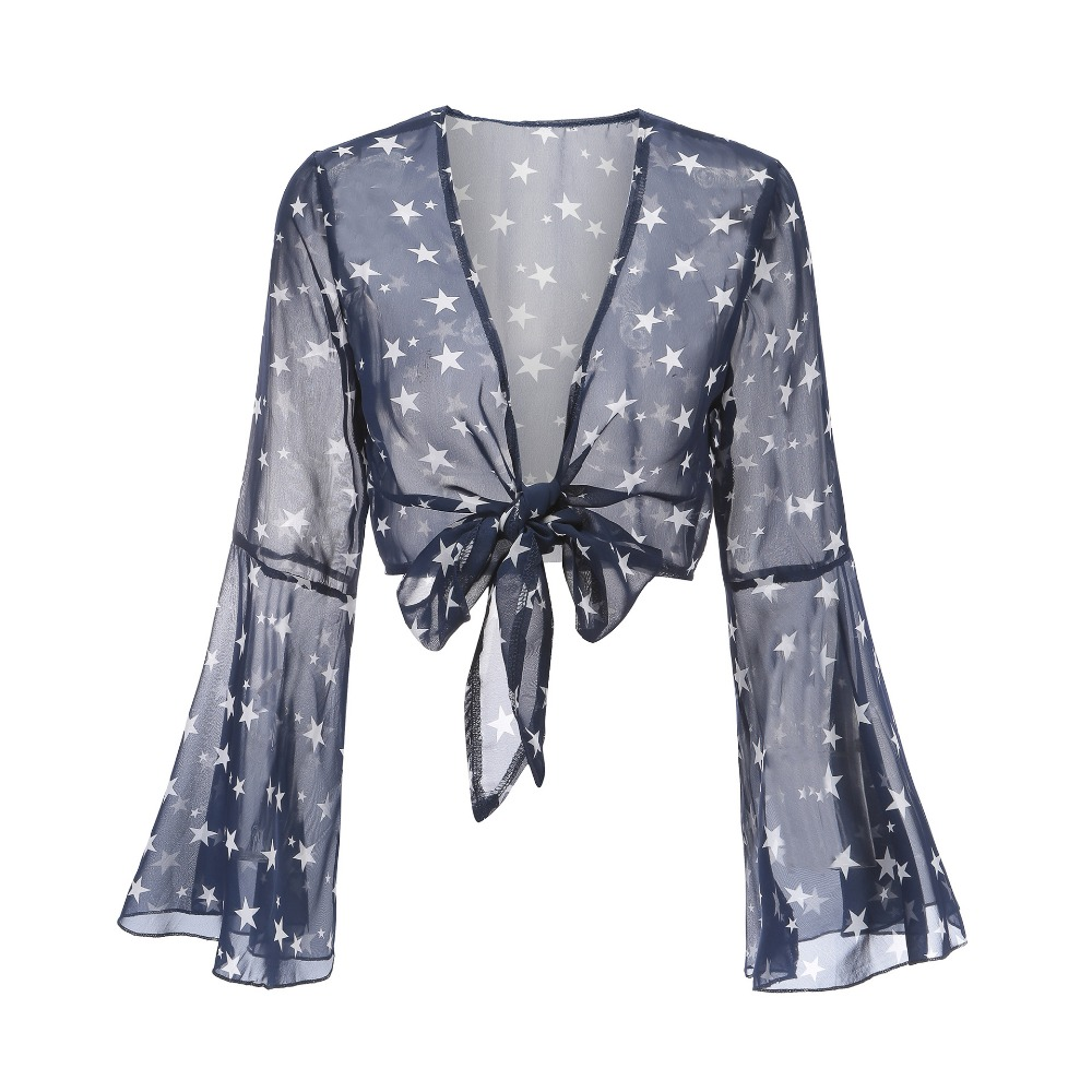 Casual V-neck Women Summer Beach Top and Blouses See-through Flare Sleeve Female Sunscreen Chiffon Shirt