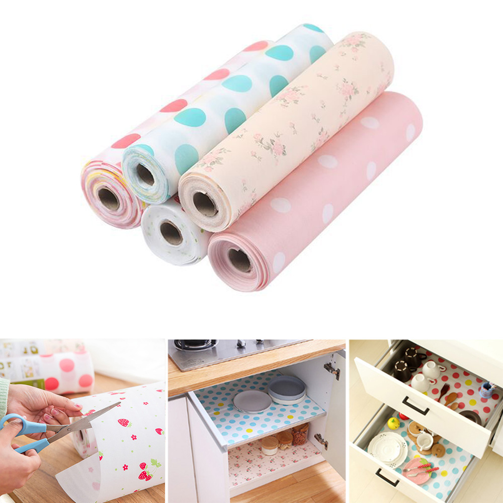 Us 2 59 35 Off 30 500cm Drawer Shelf Liner Diy Kitchen Paper Polka Dot Fl Strawberry Waterproof Oilproof Cabinet Dining Pads Mats In