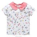 Nuevo 2017 de la Marca de Calidad 100% Del Algodón Del Bebé camiseta de Las Muchachas niño Niños Ropa Ropa de Los Niños Camisa de Niña de Manga Corta blusa