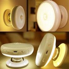 Détecteur de mouvement lumière 360 degrés rotatif Rechargeable LED veilleuse sécurité applique murale pour la maison escalier cuisine toilettes lumières