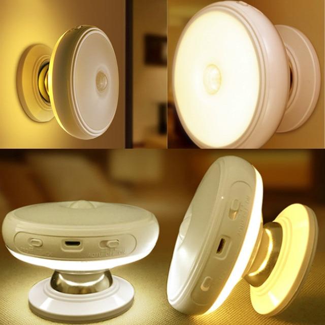 Motion חיישן אור 360 תואר מסתובב נטענת LED לילה אור אבטחת קיר מנורת לבית מדרגות מטבח אסלת אורות