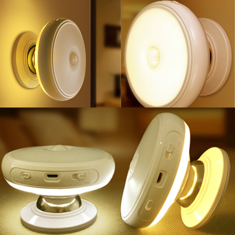 Motion Sensor light 360 Degree Rotating Rechargeable LED Night Light Security Wall lamp for Home Stair Kitchen toilet lights